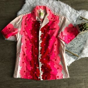 Vintage ui maikai button down floral Hawaiian top
